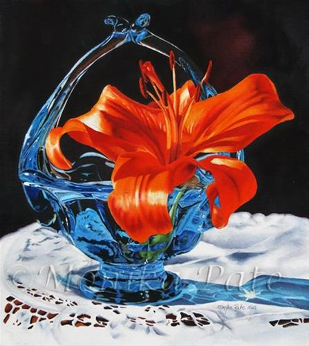 """Blue and Orange"" original fine art by Monika Pate"