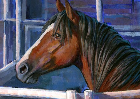 """Bronc"" original fine art by Lesley Spanos"