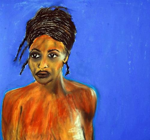 """Model on Blue"" original fine art by Donna Crosby"