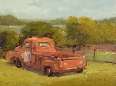 """Rusty Red Pickup"" original fine art by Laurel Daniel"