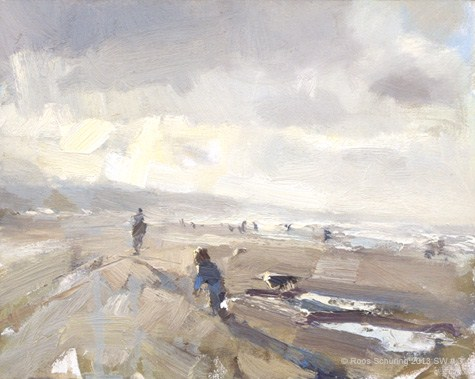 """Seascape winter 3 Bright beach~child and dog walking (available) Zeegezicht"" original fine art by Roos Schuring"