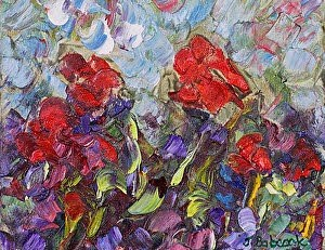 """Original Palette Knife Flower Painting Coming of Spring by Colorado Impressionist Judith Babcock"" original fine art by Judith Babcock"