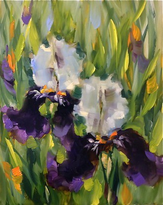 """Purple Dancers Iris and a Dallas Arboretum Workshop by Texas Flower Artist Nancy Medina"" original fine art by Nancy Medina"
