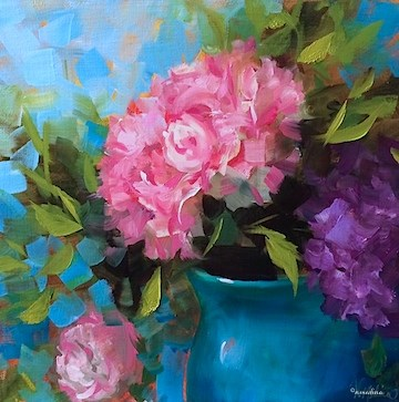 """Peony Hearts and Breaking Down the Essentials of the Flower - Paintings by Nancy Medina"" original fine art by Nancy Medina"