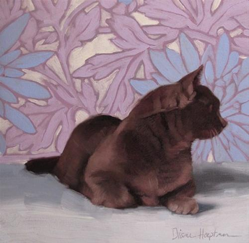 """Gimme Three Steps painting of skittish cat on floral"" original fine art by Diane Hoeptner"