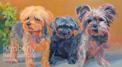 """Triple Threat, Completed !!"" original fine art by Kimberly Santini"