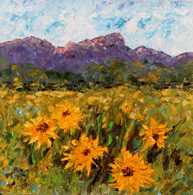 """Palette Knife Landscape Painting Sunning Themselves by  Colorado Impressionist Judith Babcock"" original fine art by Judith Babcock"