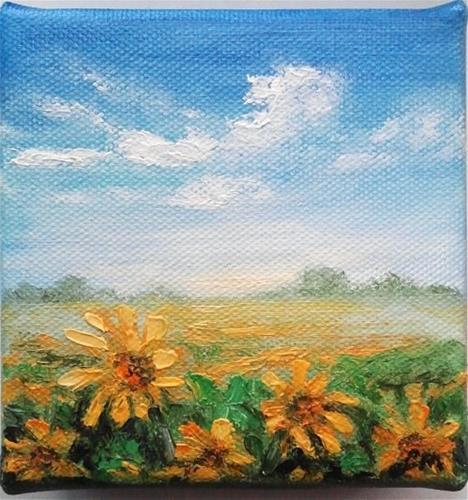 """""""Sunflower field 3D"""" original fine art by Camille Morgan"""