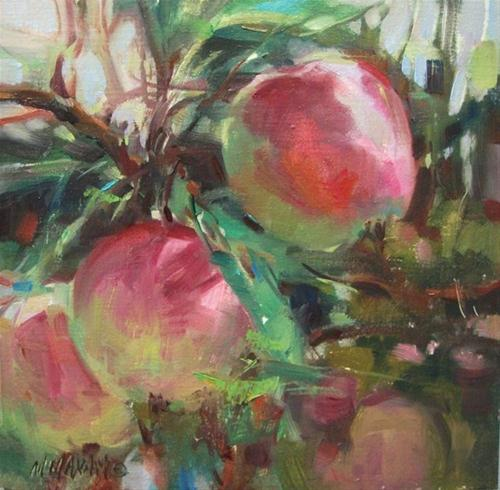 """New Crop - first of the season apple paintings and OPA"" original fine art by Mary Maxam"