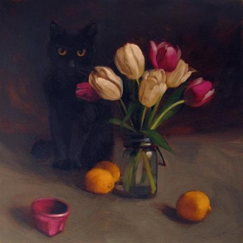 """Cat in Shadows and critiquing your own art online, do you do it?"" original fine art by Diane Hoeptner"