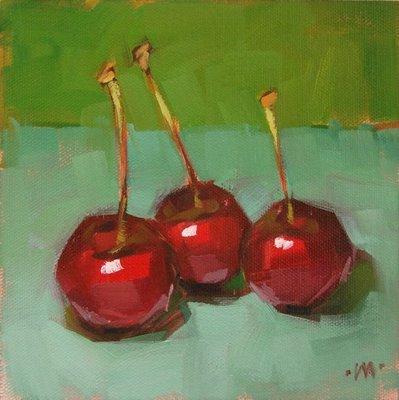 """Gabbing Cherries"" original fine art by Carol Marine"