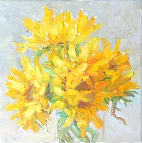 """Vase of Sunflowers,still life,oil on canvas,8x8,price$300"" original fine art by Joy Olney"