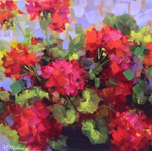 """Island Geraniums and Violet Infatuations by Flower Artist Nancy Medina"" original fine art by Nancy Medina"