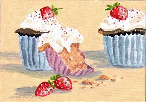 """Strawberry Cupcakes"" original fine art by Patricia Ann Rizzo"