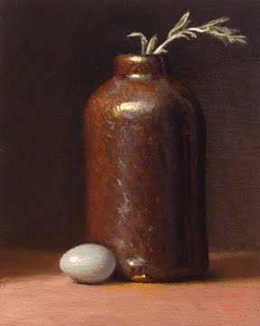 """Robin's Egg with Bottle and Sage"" original fine art by Abbey Ryan"