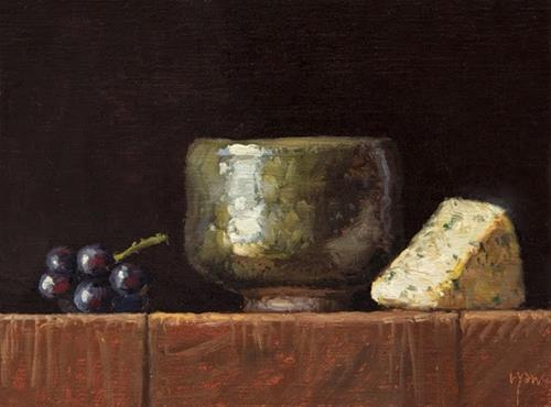 """Korean Bowl with Grapes and Bleu Cheese"" original fine art by Abbey Ryan"