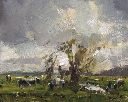 """Willows and Cows – Koeien!"" original fine art by Roos Schuring"