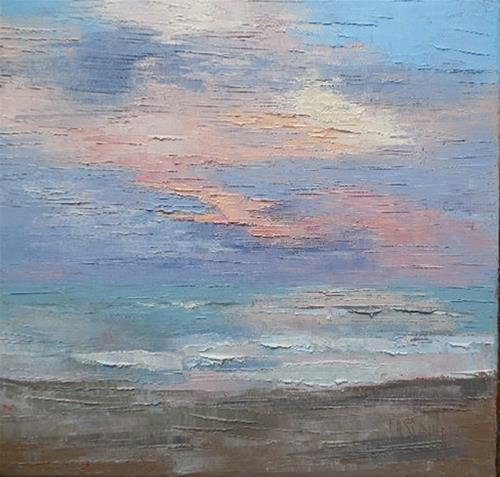 """Daily Painting, Small Oil Painting, Seascape Painting, 12x12x1.5 Oil"" original fine art by Carol Schiff"