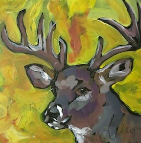 """Autumn Stag"" original fine art by Kat Corrigan"