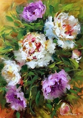 """""""Wind Dancers - Peonies - Flower Paintings by Nancy Medina"""" original fine art by Nancy Medina"""
