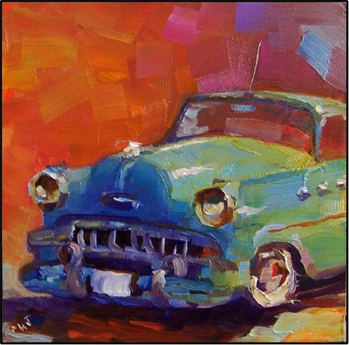 """Lil Darlin, 6x6 oil on panel, old vars, antique cars, BUick, dyna flow, paintings of classic cars,"" original fine art by Maryanne Jacobsen"