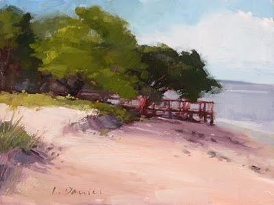 """Beach Boardwalk"" original fine art by Laurel Daniel"