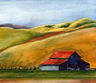 """Watercolor: Central Coast Ranch"" original fine art by Belinda Del Pesco"