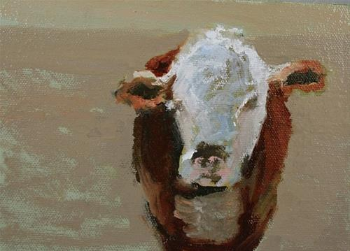 """Curious Cow II Original Bovine Oil Painting by Colorado Artist Susan Fowler"" original fine art by Susan Fowler"