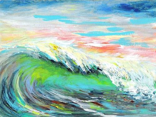 """3103 - Luminous Wave - DUO Series"" original fine art by Sea Dean"
