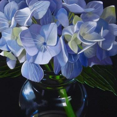 """Blue Hydrangea Commission"" original fine art by M Collier"