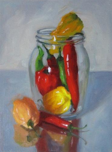 """Jamjar of chillies"" original fine art by Liz Balkwill"