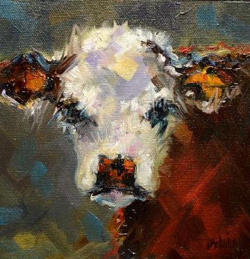 """6x6 COW CATTLE ANIMAL ART FARM D WHITEHEAD DAILY PAINTING ARTOUTWEST"" original fine art by Diane Whitehead"