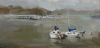 """Morning at Marina"" original fine art by Qiang Huang"