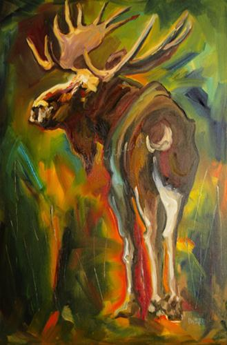 """""""SWEET MOTHER OF MOOSE WILD LIFE ANIMAL ART OIL PAINTING D WHITEHEAD"""" original fine art by Diane Whitehead"""