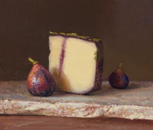 """Two Figs with Ubriacone al Prosecco Mitica on Marble (the light, the shade)"" original fine art by Abbey Ryan"