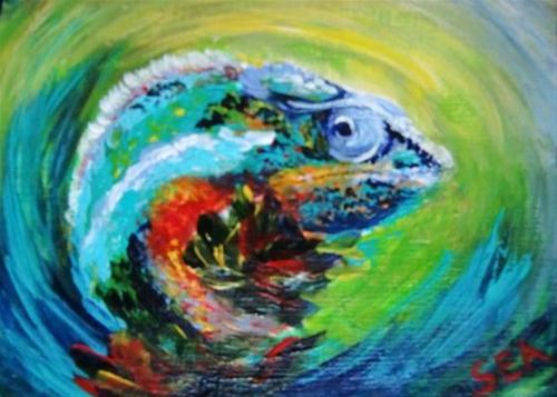 """3012 - Matted - MR BEAUX JANGLES ACEO"" original fine art by Sea Dean"