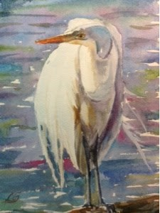 """Day 6 - Great Egret"" original fine art by Lyn Gill"