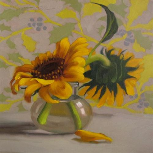 Berry Sunflowers small still life oil painting original fine art by Diane Hoeptner