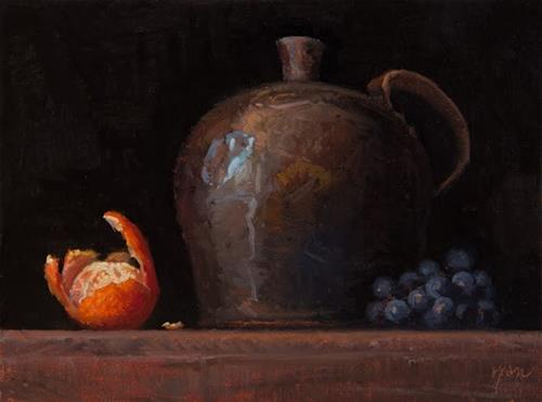 """Still life with John F. Peto's Copper Jug, Clementine, and Concord Grapes   (+ Peto Museum Workshop"" original fine art by Abbey Ryan"
