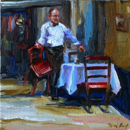"""im cafe"" original fine art by Jurij Frey"