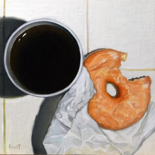 """Glazed Donut and Coffee (overhead view)"" original fine art by Kim Testone"