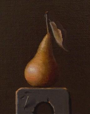 """""""Golden Pear on a Wood Block"""" original fine art by Abbey Ryan"""