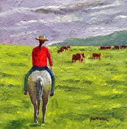 """Pokey Cowgirl and Wildflower Meadow"" original fine art by Sue Furrow"