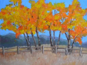 """Flaming Cottonwoods"" original fine art by Robert Frankis"