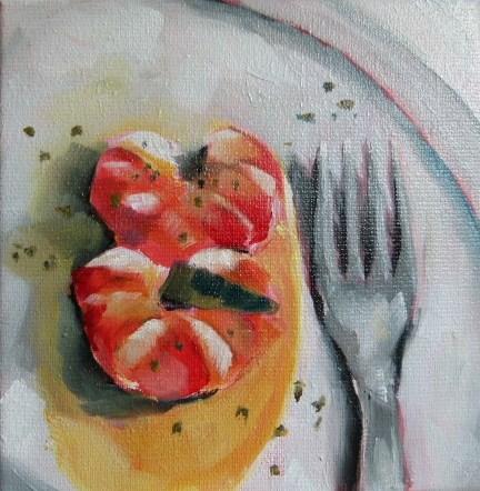 """Gambas in Olivenöl"" original fine art by Sabine Hüning"