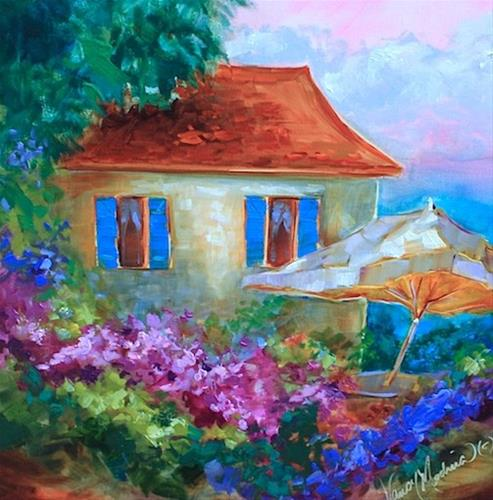 """A Seaside Cottage and a St. Louis Workshop - Flower Painting Classes and Workshops by Nancy Medina A"" original fine art by Nancy Medina"