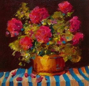 """Original geranium still life painting art floral flower"" original fine art by Alice Harpel"
