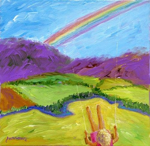 """Rainbow and Spring is Here !!"" original fine art by Sue Furrow"