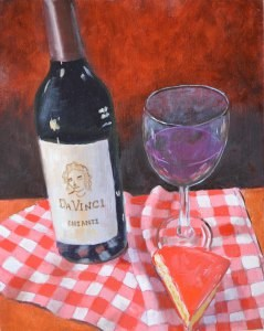"""Wine and Cheese Revisited"" original fine art by Robert Frankis"
