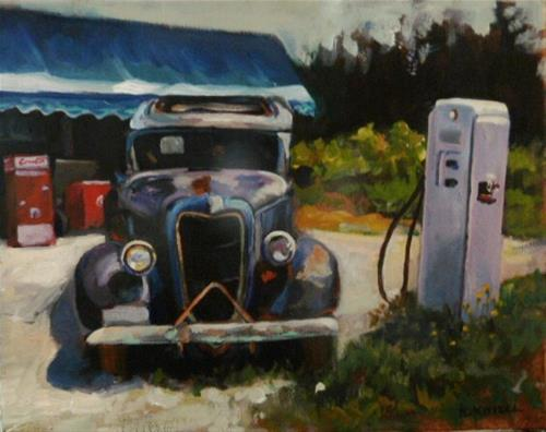 """ABANDONED CAR AND GAS PUMP"" original fine art by Kathryn Kittell"